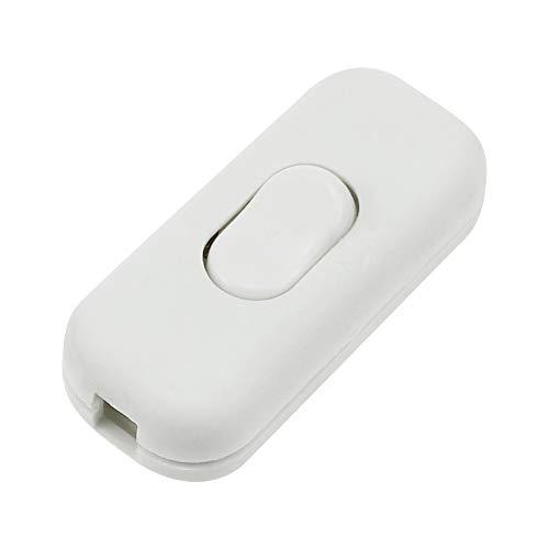 Schnurzwischenschalter 1 Stück Lampen-Schalter Inline ON/OFF Tisch Schreibtischlampe Kabel Schalter für 2- und 3-adrige Kabel 6A 250V Matt Weiß