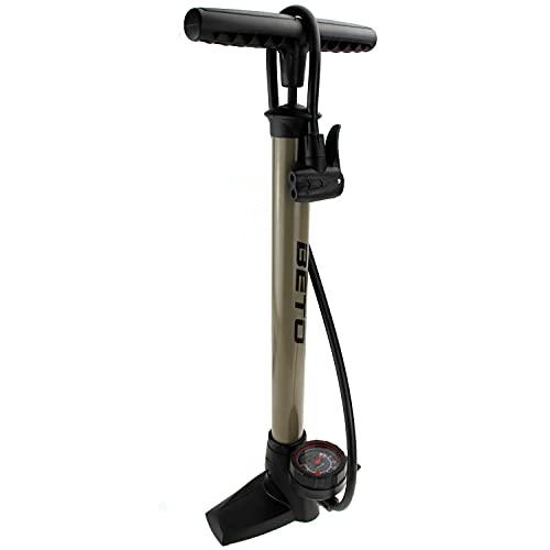P4B | Luftpumpe in Titanium mit rundem Manometer | Fahrradpumpe für alle Ventile - Dunlop Ventil, Französisches Ventil, Auto Ventil | Standpumpe 11 bar/160 psi