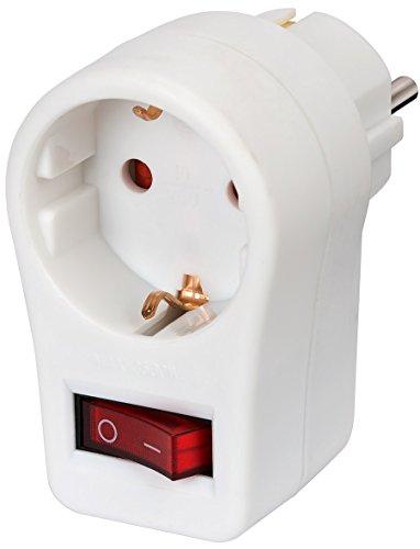 Brennenstuhl Steckdosenadapter, (Zwischenstecker mit erhöhtem Berührungsschutz) weiß 1508070 Schuko + Schalter
