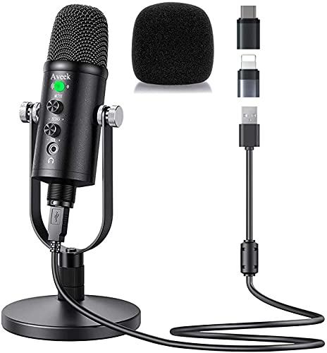 USB Mikrofon für PC und Telefon, Kondensator Mikrofone mit Stabiler Ständer und Lärmminderung für Computer Laptop für Podcast, Studio, Streaming, Broadcast, YouTube