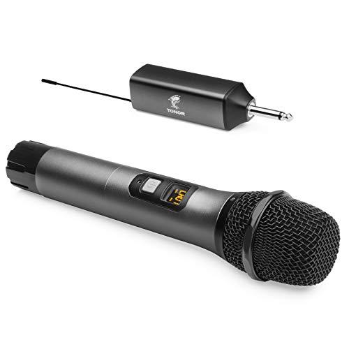 """Drahtloses Mikrofon, TONOR UHF Metall Kabelloses Handmikrofon System mit wiederaufladbarem Receiver, 1/4 """" Ausgang für Verstärker, PA-System, singende Karaoke Maschine, 60m (TW-620)"""