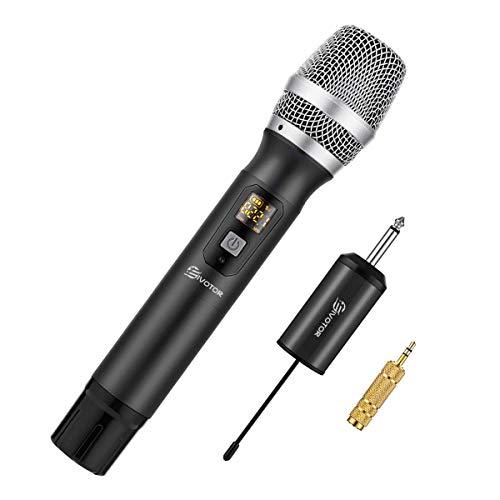 EIVOTOR Kabelloses Mikrofon UHF Funkmikrofon mit Empfänger Wireless Microphone Karaoke Drahtloses Tragbares Handmikrofon Dynamisches Mikrofon bis zu 50m für Konferenz Schule Hochzeit Reden Sitzung PC