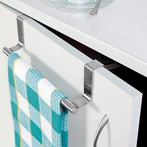 Tatkraft Horizon   20115   Türhandtuchhalter Küche, Geschirrtuchhalter   Gebürsteter Edelstahl, Silber    7.3x23CM