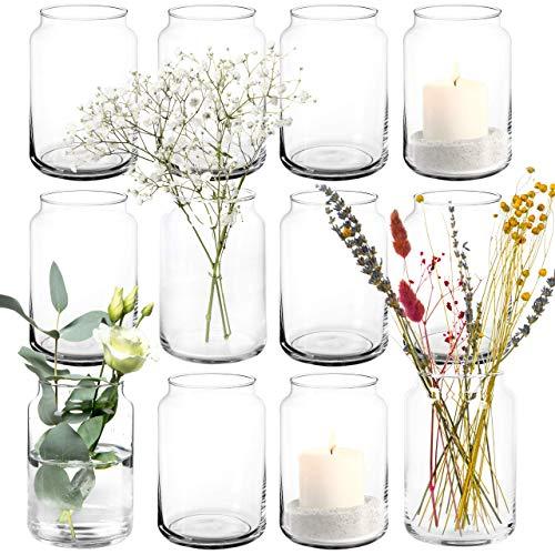 12x Vasen / Windlichter aus Glas im Set je 15cm groß, Tischdeko Kerzenglas Blumenvase Kerzenhalter