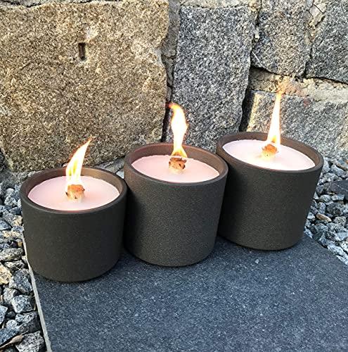 Schmelzlicht anthrazit dunkel grau - 3 Größen - Tischfeuer Wachsfresser Wachsbrenner Dauerbrenner Outdoor Wachsreste Kerze Terrassenfeuer Geschenk Idee Deko Balkon