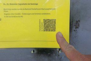 Fast auf jedem Fahrplan findet man heute einen QR-Code. (Bildrechte: Stein)