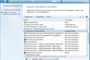 """Die Systemsteuerung """"Programme deinstallieren oder ändern"""" von Windows 7 (Bildrechte: Stein)"""