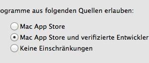 """Die Software-Sperre """"Gatekeeper"""" im Mac lässt sich auch abschalten. (Bildrechte: FRAGDENSTEIN.DE/ Stein)"""