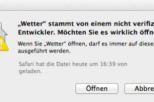 Nicht verifizierter Entwickler: Mit einem Trick kann man jedes Programm auf dem Mac öffnen. (Bildrechte: FRAGDENSTEIN/ Stein)