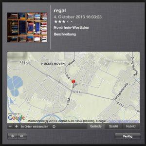 Anhand der GPS-Ortungsdaten lässt sich in vielen Programmen - wie hier in iPhoto auf dem Mac - sogar auf einer Karte sehen, wo ein Foto entstanden ist. (Bildrechte: FRAGDENSTEIN.DE/ Stein)