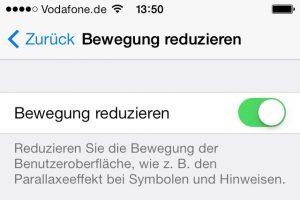 Wer den iOS7-Parallax-Effekt ausschalten will, muss diese Funktion einschalten. (Bildrechte: FRAGDENSTEIN.DE/ Stein)