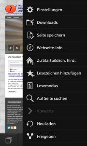 Auch bei Blackberry 10 lässt sich eine Webseite als Icon speichern. (Bildrechte: FRAGDENSTEIN.DE/ Stein)