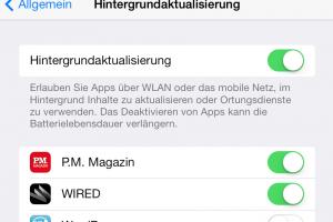 Die iOS-Hintergrundaktualisierung der Apps verbraucht Datenvolumen. (Bildrechte: FRAGDENSTEIN.DE/ Stein)