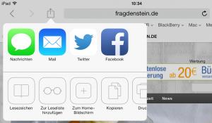 """Um die Webseite als Icon speichern zu können, tippen Sie einfach auf die Option """"Zum Home-Bildschirm"""" (Bildrechte: FRAGDENSTEIN.DE/ Stein)"""