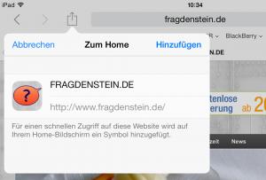 Wenn der Webseiten-Betreiber es vorbereitet hat, erscheint ein eigenes Touch-Icon. (Bildrechte: FRAGDENSTEIN.DE/ Stein)