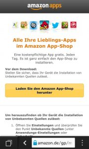 Amanzons App-Shop lässt sich auch auf einem Blackberry-10-Smartphone installieren. (Bildrechte: FRAGDENSTEIN.DE/ Stein)