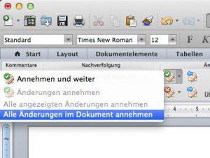 Wenn Sie alle Änderungen annehmen, bleibt der Text, wie er war. (Bildrechte: FRAGDENSTEIN.DE/ Stein)