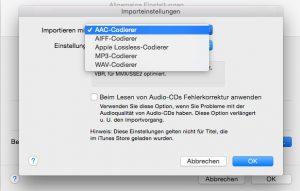 Als Importeinstellung von iTunes muss der AAC-Codierer gewählt werden. (Bildrechte: FRAGDENSTEIN.DE/ Stein)