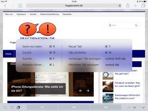 Eine leicht transparente Box erscheint auf dem Display und zeigt zur gerade aktiven App die Tastatur-Shortcuts fürs iPad an. (Bildrechte: FRAGDENSTEIN.DE/ Stein)