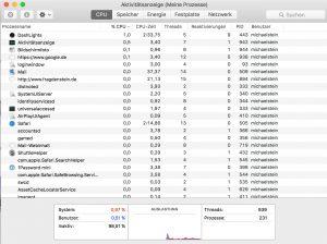 Wenn der Mac langsam wird, lohnt sich ein Blick auf die Aktivitätsanzeige. (Bildrechte: FRAGDENSTEIN.DE/ Stein)