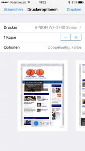 Mit einem AirPrint-Drucker kann man direkt vom iPhone drucken (Bildrechte: FRAGDENSTEIN.DE/ Stein)